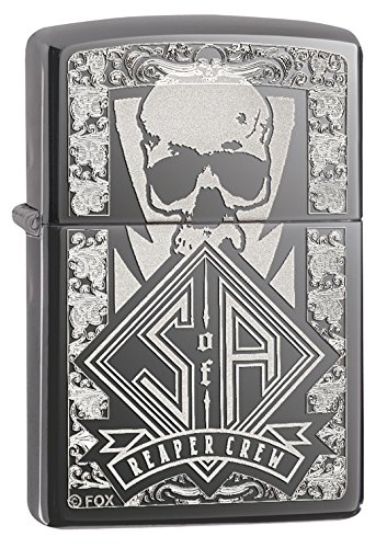 Zippo Black Ice Sons of Anarchy Reaper Crew Skull Black Ice Pocket Lighter ()