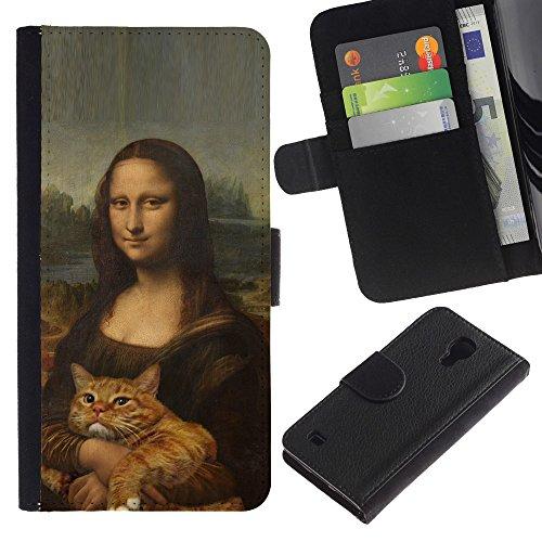 EuroCase - Samsung Galaxy S4 IV I9500 - mona lisa ginger yellow cat funny - Cuero PU Delgado caso cubierta Shell Armor Funda Case Cover