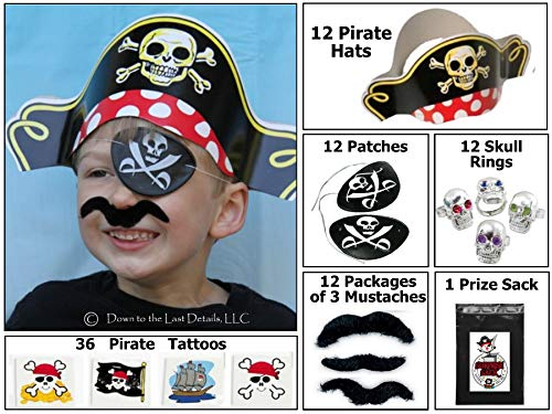 12 Pirate Dress up Party Favor Pack (12 Pirate Hats, 12 Pirate Patches, 36 Stick-on Mustaches, & 36 Pirate Tattoos) Costume Supplies]()