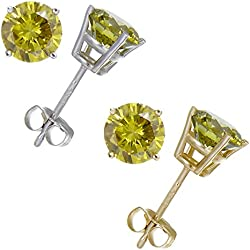 1 CT Yellow Diamond Stud Earrings 14k Gold