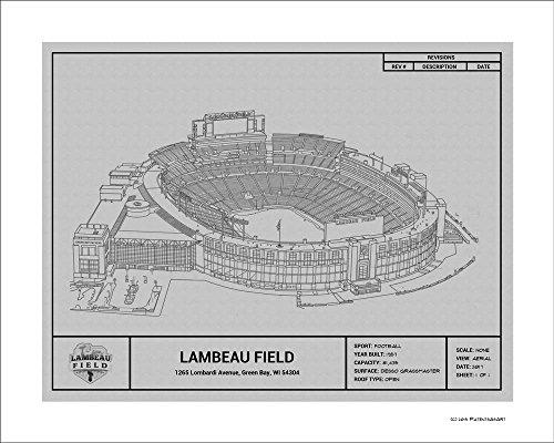 Green Bay Packers Lambeau Field Blueprint Art - Green Lambeau Field
