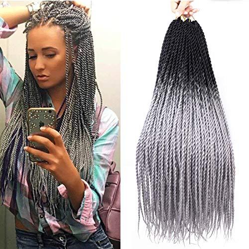 6 Packs 24 Inch Grey Senegalese Twist Crochet Hair Braids, Long Ombre Crochet Twists for Black Woman Kanekalon Braiding Hair, Havana Mambo Twist 20Strands/Pack (T1B/Gray) ()