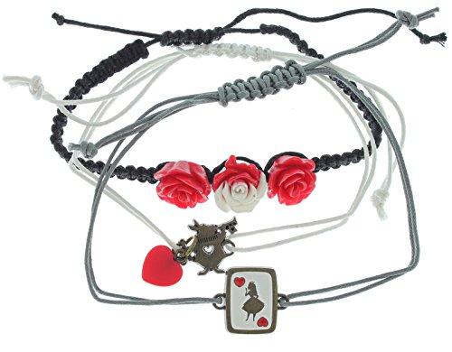 Disney Alice In Wonderland Queen of Hearts 3 Pack Bracelet Set