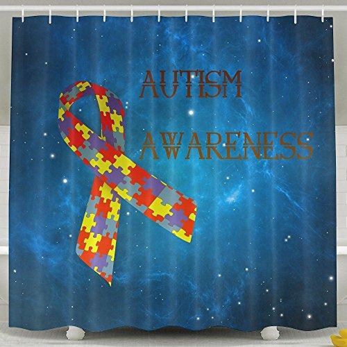 Autism Awareness Ribbon Shower Curtain Fabric Bathroom Shower Curtain Set,72x60 Inch