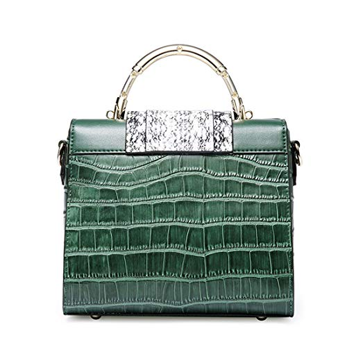 Mensajero Cocodrilo Bloqueo Kelly Bolsa Cuadrado Dark Bolso Green De Cuero Green Verde Hungrybubble Retro Simple color UqwavEx