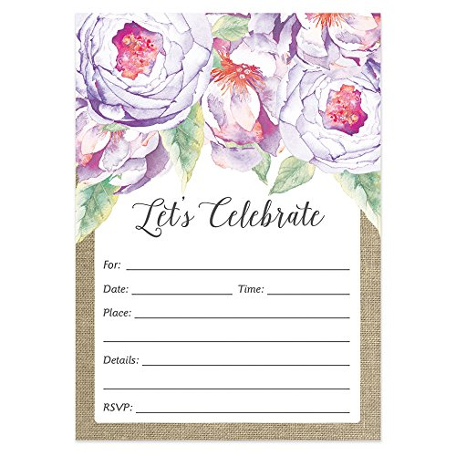 25 Rustic Floral Invitations with Envelopes (Pack of 25) Large 5x7 Fill in Purple Birthday, Graduation, Bachelorette, Anniversary Party, Bridal Shower Excellent Value Invites VI0033B