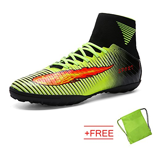 VITIKE Mens Boys SG Soft Ground Football Boots Leather Soccer Boot(EU44-Green) eOzYFI