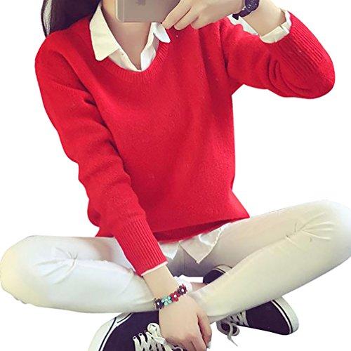 YOUJIA Sueter Tejido de Mujer Jerseys de Punto Mujeres Jersey Pullover Sueteres Tejidos Redondo Cuello Sueters Manga Larga para Dama Rojo