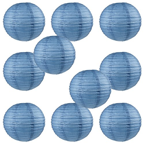 """WYZworks Round Paper Lanterns 10 Pack (Neptune Blue, 16"""") - with 8"""", 10"""", 12"""", 16"""" option"""