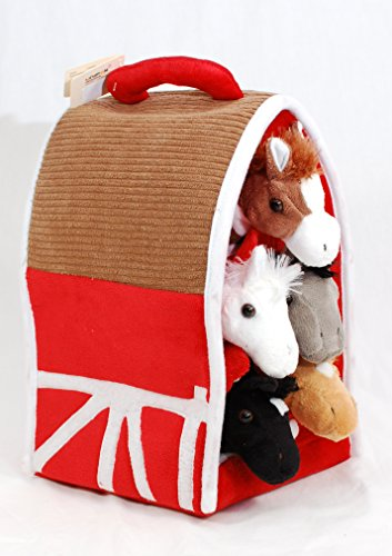 Plush Horse Barn with Horses - Five (5) Stuffed Animal Horses in Play Carrying Barn ()