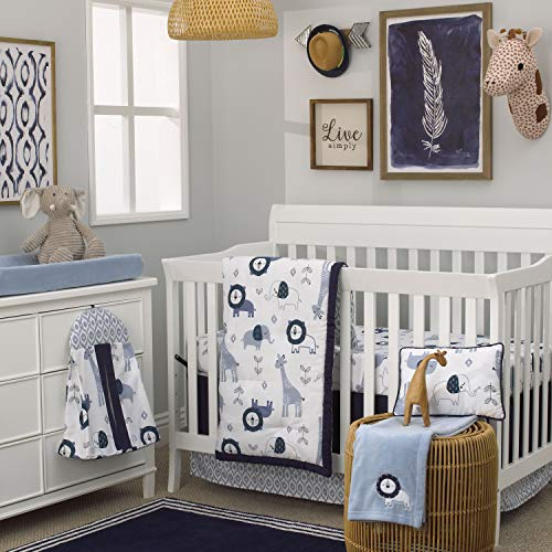 NoJo Dreamer Mosaic Animals 8 Piece Nursery Crib Bedding Set, Navy/Light Blue/White,