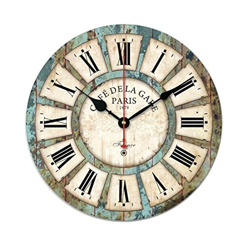 Wall Clock, GTKRTU 14 Inch Vintage Country Style Roman Numerals Wall Clock for Bedroom Living Room Bathroom Home - Frame For Best Round Style Face