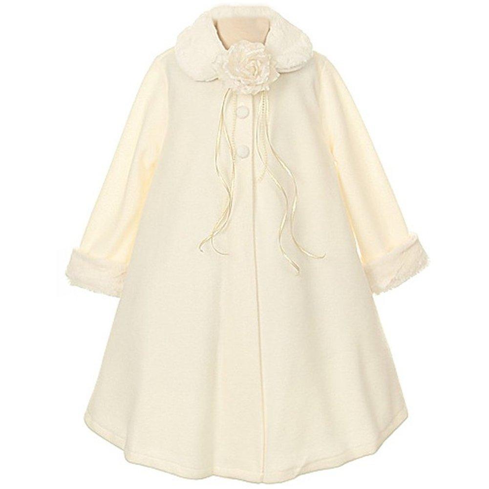 Big Girls Gorgeous Ivory Fleece Faux Fur Collar Cuff Coat - Size 10