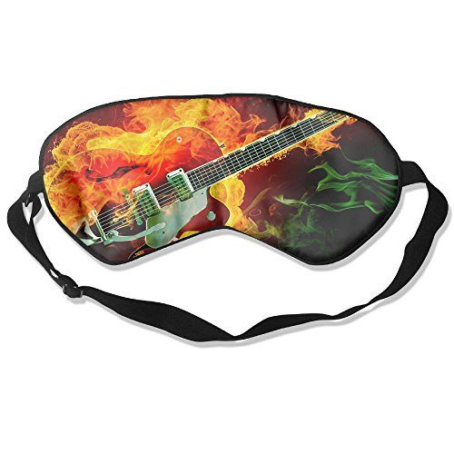Silk Sleeping Mask Eye Rockabilly Guitar Fire Lightweight Soft Adjustable Strap Blindfold For Night's Sleep Nap Travel Eyeshade Men And Women