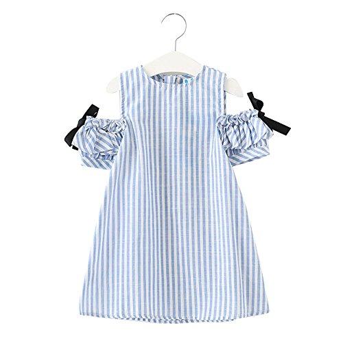 Amazon.com: LSERVER Girls A-line Stripe Floral Off-Shoulder Round Neck Bowknot Mini Cotton Princess Dress: Clothing