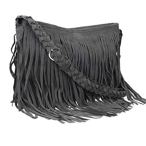 CHIC DIARY Faux Suede Fringe Tassel Crossbody Messenger Bag Women Hobo Shoulder Bags Handbag ()