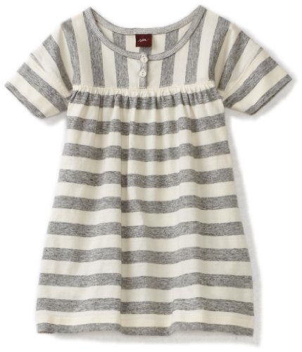Tea Collection Baby Girls' Happy Morning Stripe Dress, Marbled Grey, Large