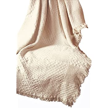 Manual Textured Blocks Fringed Natural 2-Layer Throw, 46 X 60-Inch