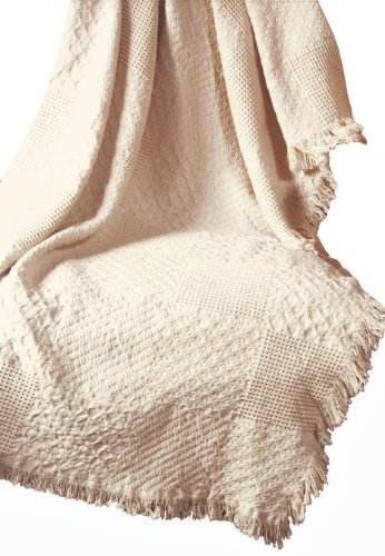 Manual Textured Blocks Fringed Natural 2-Layer Throw, 46 X (Afghan Blanket)