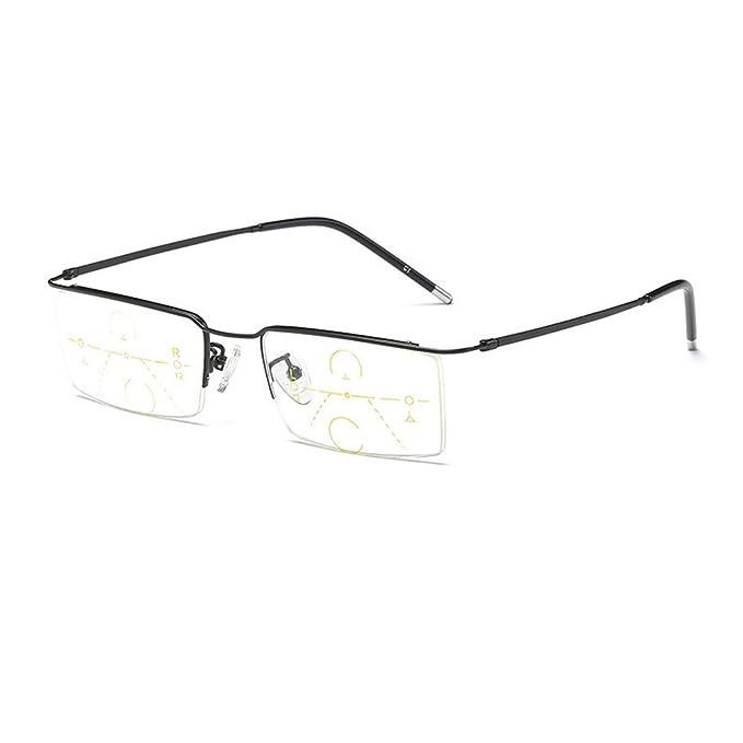 dec06ea7aa MINCL Men s Progressive Multifocal Reading Glasses Vintage Business Half  Frame Square Eyewear (0ADD+