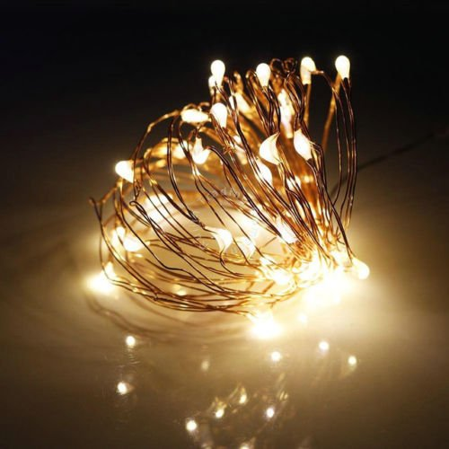 100 LED String Gold Copper Wire Fairy Lights Battery Powered Waterproof