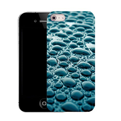 Mobile Case Mate IPhone 4 clip on Silicone Coque couverture case cover Pare-chocs + STYLET - blue droplets pattern (SILICON)