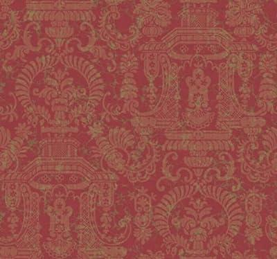 Wallpaper Designer Traditional Style Pagoda Floral Tan Damask on Burgundy Red