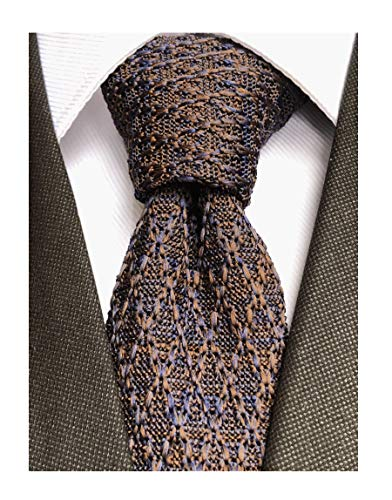 Men Woven Navy Blue Brown Skinny Ugly Knitted Ties Tweed Casual Gift Wool Neckties for Brother Son Grandson