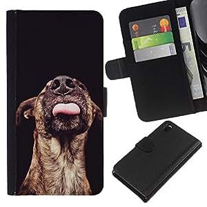 Australian Cattle Dog Black Mutt - la tarjeta de Crédito Slots PU Funda de cuero Monedero caso cubierta de piel Sony Xperia Z3 D6603