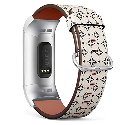 (Compatible with Fitbit Charge 3 & 3 SE - Leather Wristband Bracelet Replacement Accessory Band (Includes Adapters) - Ornamental)