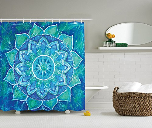 """Blue Shower Curtain Chakra Geometric Decor, Watercolor Painting Effect Batik Ikat Abstract Mandala, Polyester Fabric Bathroom Shower Curtain Set with Hooks, Blue Teal 70.8""""W x 84""""H"""