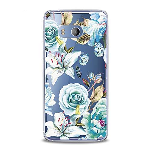 Lex Altern TPU Case HTC Desire 12 Plus U12 U11 Life Dual Sim Card + Vintage Light Blue Roses Flowers Flexible Floral Lily Clear Cover Print Fashion Girl Luxury Women Protective Silicone Transparent