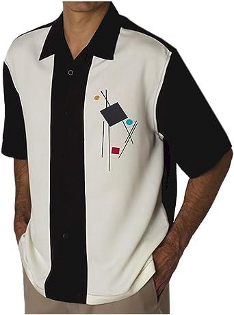 Bowling Concepts Designs Camisa de Campamento para Hombre, Estilo Vintage, Estilo Cubano, para Bolos - Negro - 4X-Large: Amazon.es: Ropa y accesorios
