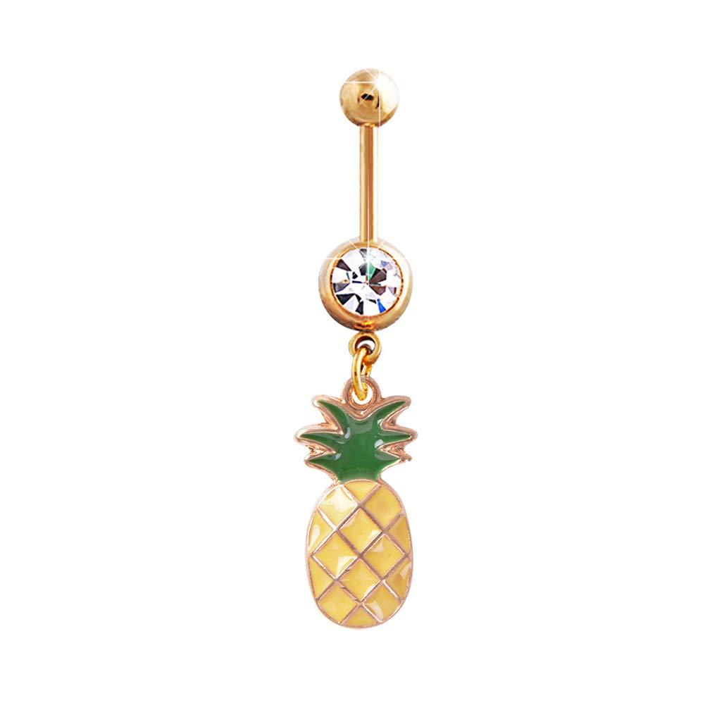 Pineapple Rhinestone Navel Belly Button Ring Women Body Piercing Jewelry Yellow