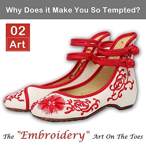 ALBBG bestickt chinesischen Stil Wohnungen Ballett Stickerei Handwerk Damenschuhe rot weiß schwarz blau Schwarz-2