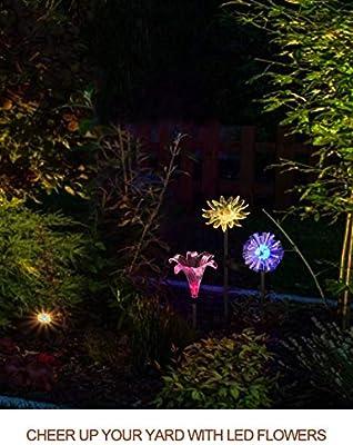 Luces Led De Juego De JardíN Solares Que Cambian De Color, 3 Paquetes De Luces De Flor Solares Al Aire Libre Figuras A Prueba De Agua DecoracióN Luces De Sendero Del Paisaje: