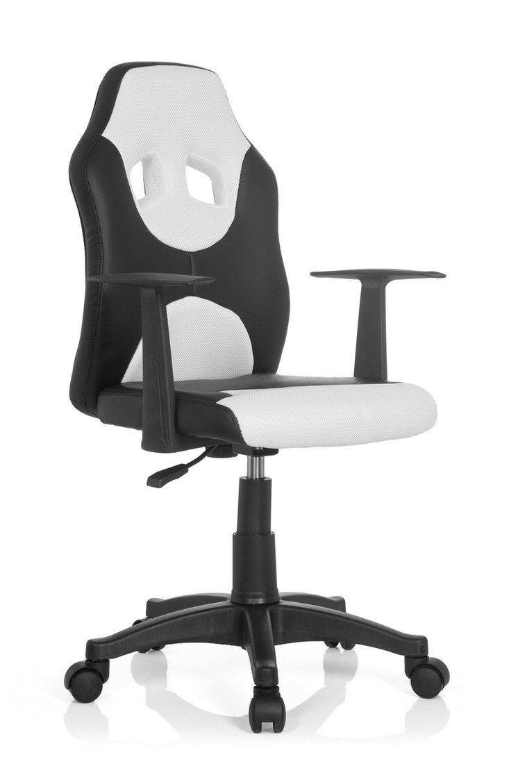 Noir Blanc  hjh Office 670810 Enfant RACER AL Chaise de bureau pour Enfant Tissu Noir Orange