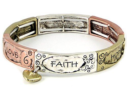 Faith Heart Bracelet (4031410 Faith Hope Love Tri Tone Stretch Bracelet Heart Charm 1 Corinthians Scripture)