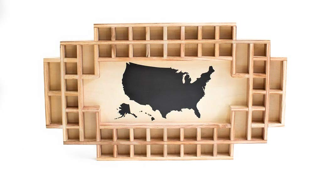 Shot Glass Display Frame - 52 Spaces - Solid Wood Frame - World Map - US Map (Natural, US Map)