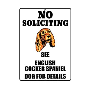 Fastasticdeals English Cocker Spaniel Dog No Soliciting See Novelty Metal Sign 26