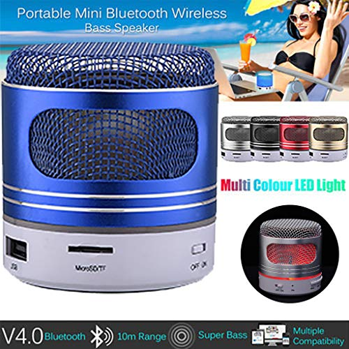 Saying Portable Wireless Bluetooth Speaker - (2019 Upgraded), Dustproof Shockproof Wireless Speaker Built-in Mic AUX TF Card Input (Blue)