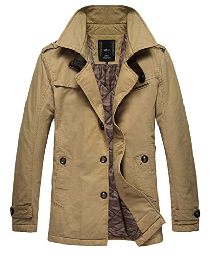 Men's Winter Cotton Warm Plus Size Jacket & Trench LZX6308 (XXL, Khaki)
