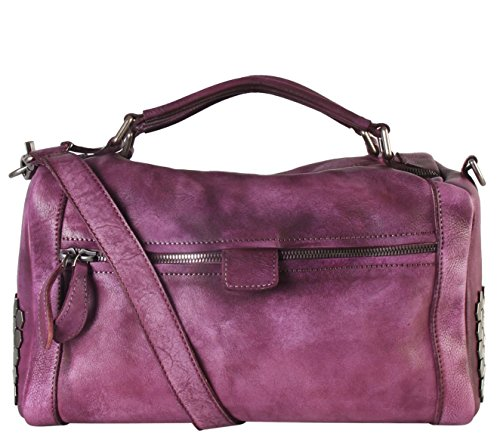Diophy Genuine Leather Front Zippered Pocket Large Speedy Bag Accented With Studded Décor 150351 150351 Pp