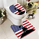 VROSELV 2 Piece Toilet Cover set Memories Sunny Sand Hawaii Wall Art for Bedroom Hanging Sand Non-slip Soft Absorbent Bath Toilet mat