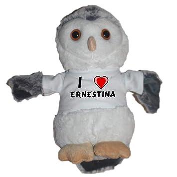 Shopzeus Búho de peluche con Amo Ernestina en la camiseta (nombre de pila/apellido