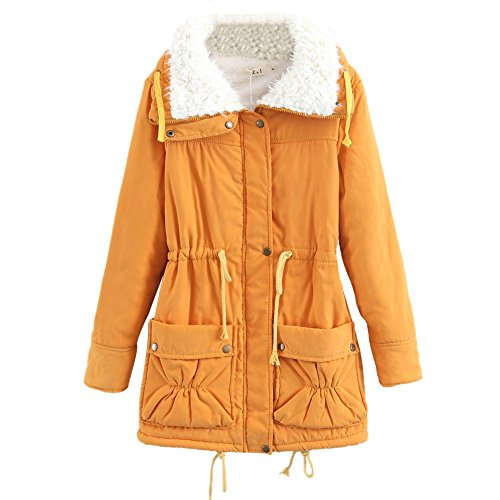 Womens Warm Cotton Coats, Cashmere Lined Overcoats Ladies Adjustable Waist Slim Fit Jacket Coat Plus Size Yellow