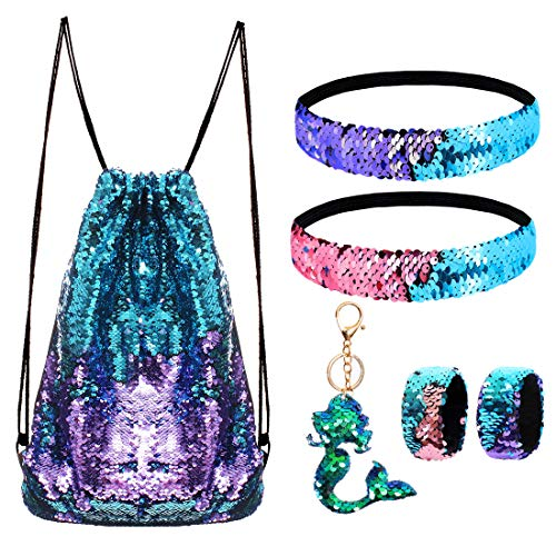 Mermaid Reversible Sequin Drawstring Backpack/Bag Blue/Purple for Kids Girls