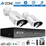 A-ZONE Security 4 Channel 1980P NVR HD 1080P IP PoE Security Camera System with 2 Outdoor / Indoor 3.6mm Fixed lens 2.0 Megapixel 1080P Cameras, QR Code Easy Setup, Free Remote View-1TB HDD, White