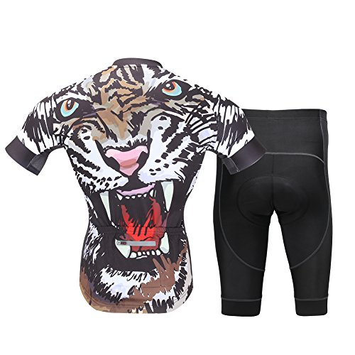 FREE FISHER Mens Cycling Jerseys with Padded Shorts Set Tiger XL=US M/L