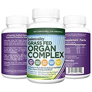 Desiccated Beef Organ Capsules - Paleovalley Grass Fed Organ Complex - 30 day supply - Provides B12 Vitamins, Gently Freeze Dried, and A Variety of Organ Meats - Liver, Heart, Kidney, and Brain